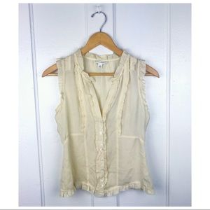 Banana Republic : Pale Yellow Silk Ruffle Blouse